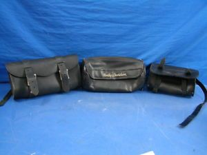 Lot of 3 Fork Bags Harley Davidson Motorcycle Black Leather Accessories Storage
