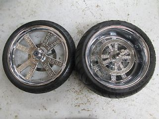 "Jaybrake Custom Chrome Wheels Rims 21"" Front 18"" 300 Rear Harley Chopper 4 Spoke"