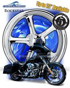 "Coastal Moto Rockstar Chrome Motorcycle Wheels 21"" Harley Package w Tires PM"
