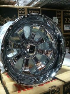 "22"" 8x170 Chrome Rims Ford F250 350 Excursion 22x14 KMC XD Armour 76mm Lifted"