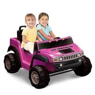 Kids Battery Powered Ride on Toy 2 Seats Seater Pink Girls Hummer SUV Car 12V