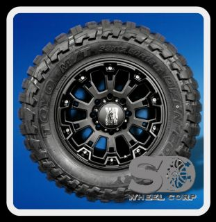 "18"" XD800 Misfit Black Rims with 33x12 50x18 Toyo Open Country MT Wheels Tires"