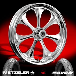 "Atomic Chrome 21"" Front Wheel Tire Package Kit 08 13 Harley Touring Bagger"