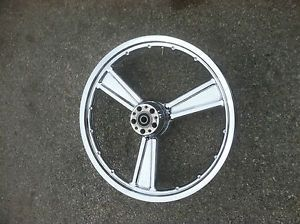 "Harley Davidson Softail Deuce Sportster 3 Spoke Detonator 21"" Chrome Front Wheel"
