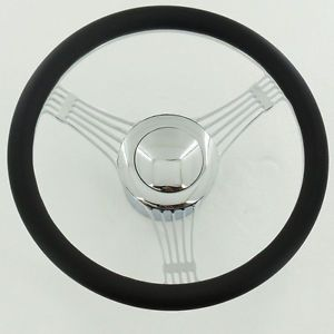 "14"" Billet Chrome Banjo Steering Wheel Half Wrap Leather Adapter Horn Button"