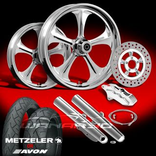 "Adrenaline Chrome 21"" Wheels Tires Single Disk Kit 2009 13 Harley Touring"