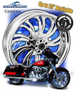 "Coastal Moto Genesis Chrome Motorcycle Wheel 21"" Harley Front Package w Tire PM"