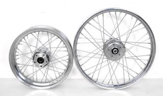 Chrome 40 Spoke Wheels Rims Set Fits Harley Sportster