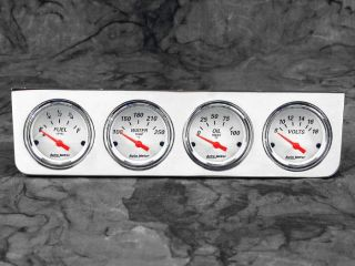 Billet Aluminum 4 Gauge Under Dash Instrument Panel w Auto Meter Arctic White