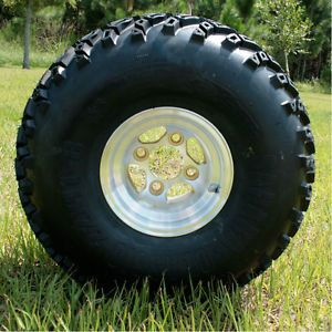 "8x7 Gold Star Golf Cart Wheels and 22"" All Terrain Tires"