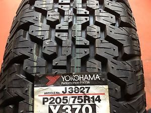 One 205 75 14 Yokohama Radial 370 Steel Belted Tire P205 75R14 Full Tread