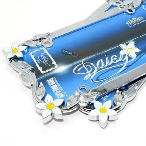 2 Chrome Daisy Flowers Metal License Plate Tag Frames for Auto Car Truck