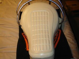 Harley Davidson White Buddy Seat FLH Shovelhead Saddle w T Bar Springs to 1984
