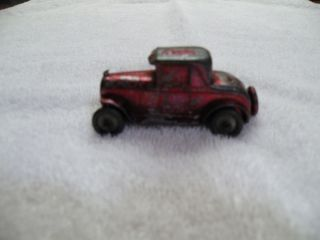 Cast Toy Coup Vintage Car Original Red Paint Wheels Spin Spare Tire 1940s