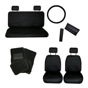 Superior Faux Leather Black Car Seat Covers Set and Black Floor Mats B