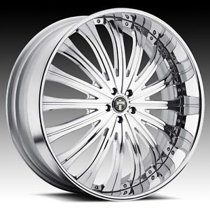 "28"" Dub 3 Piece Type 38 Chrome Wheel Set Custom Forged Rims 5 6 Lug Vehicles"