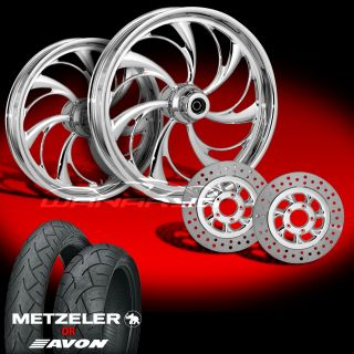 Helix Chrome Wheels Tires Rotors Pulley 2002 08 Harley V Rod 200 Tire