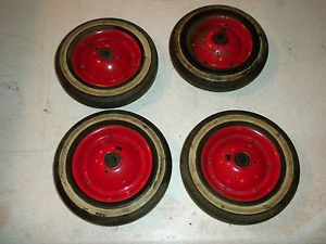 Wheels Tires Pedal Cars Set 4 Red Car Plane Tractor Wagon Vintage Antique