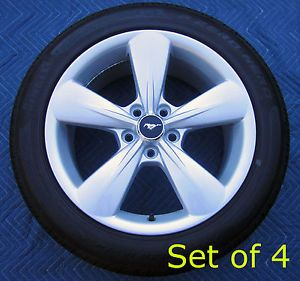 "Set 4 2013 Mustang GT 18"" Stock Factory Wheels Rims Tires Pirelli 235 50 18"