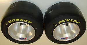 Pair of New Dunlop DCS Racing Go Kart Tires Used Vank Machined Wheels