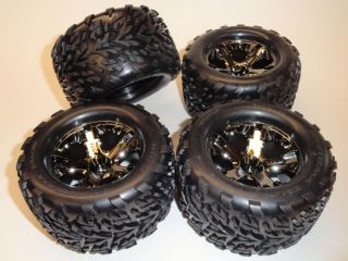 Traxxas 1 10 Stampede 4x4 All Star Black Chrome Wheels Talon Tires 2 TRA3669A