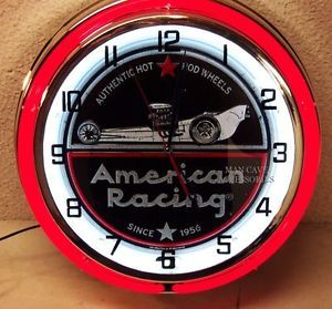 American Racing Wheels Since 1956 Double Neon Clock Authentic Hot Rod Wheels