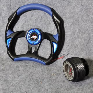 320mm Battle 6 Hole Racing Steering Wheel Hub Adapter Black Blue PVC Integra