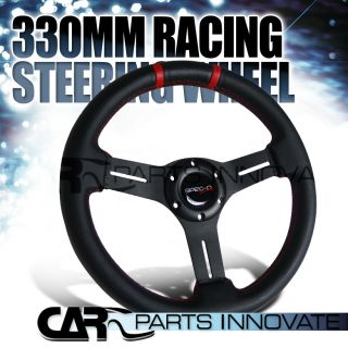 Drifting Steering Wheel PVC Leather Red Center Strip