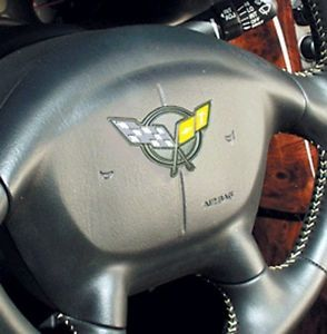 Corvette C5 Steering Wheel Emblem Decal Yellow