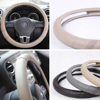"58010 14"" 15"" 38cm Steering Wheel Cover Beige Leather Fiat BMW Audi SUV Car New"