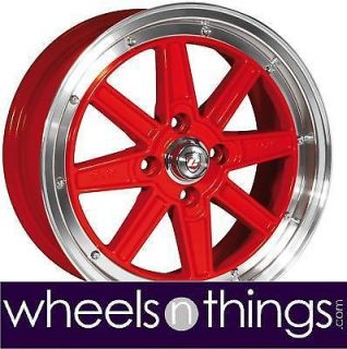 "15"" Fiat 500 Retro Euro Red Alloy Wheels Set of 4"
