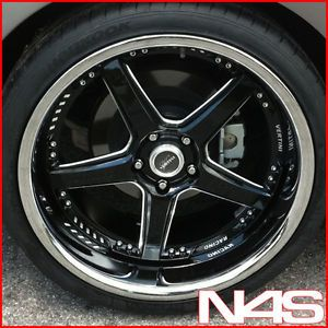 "Brand New 20"" Nissan 370Z Vertini Drift Black Staggered Wheels Rims"