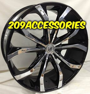 26 inch Lexani Lust Rims Wheels Chrome w Black Windows Ridgeline Acura MDX