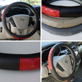"Leather Steering Wheel Cover 57009 Black Red Hummer Fiat Car SUV 14"" 15"" 38cm"