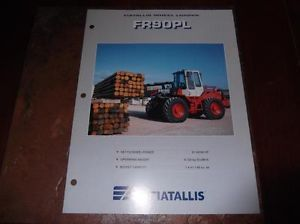 Fiat Allis FR90PL Wheel Loader Sales Brochure Fr 90 PL Loader