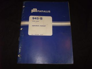 Fiat Allis 945 B Wheel Loader Operation Maintenance Manual