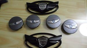 "2013 Hyundai Genesis Coupe Black Emblem 18"" 19"" Wheel Caps Trunk Grill 2 0 T 3 6"