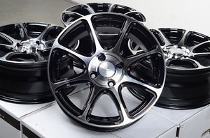 "15"" Black Effect Wheels Rims 4x100 Mini Cooper Mazda Miata Honda Civic Accord"