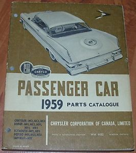 59 Mopar Parts Book Catalog Plymouth Dodge Chrysler Passenger Cars 300 Fury D500