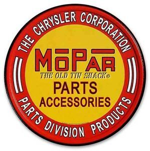 Nostalgic Tin Metal Sign Chrysler Mopar Auto Parts Accessories Round 613