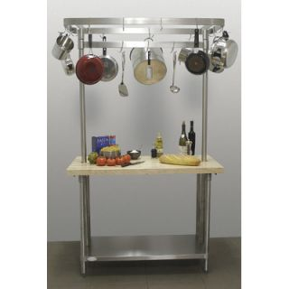 A Line by Advance Tabco Chefs Prep Table with Wood Top and Pot Rack