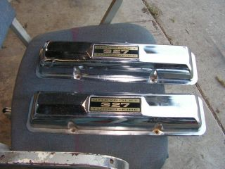 Vintage 1962 63 Chevy Corvette Chrome Valve Covers 327 283 Factory GM Parts