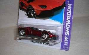 Lamborghini Aventador J Red Custom 10sp Super Rubber Tires 2013 Hot Wheels