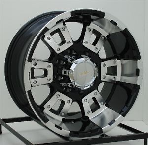 17 inch Black Wheels Rims Chevy GMC Dodge RAM 2500 3500 Trucks 8 Lug 17x10 DIAMO