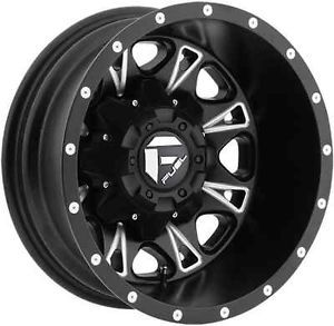 "17"" Fuel Throttle Black Wheels Rims 8x210 8 Lug Chevy GMC 2011 Up Dually Truck"