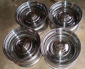 6 Lug 6x5 5 Truck Pickup Smoothie Wheels Rims Chrome 15x8 GMC Chevy RARE 454 327