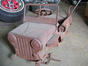 Vintage Jeep Pedal Car Fire Truck Shell Antique Parts Restore