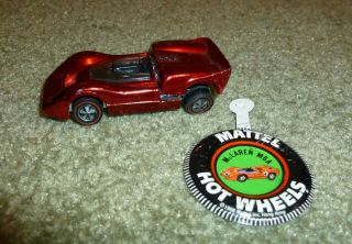Vintage Mattel Hot Wheels Redline McLaren M6A Red 1968 USA with Badge