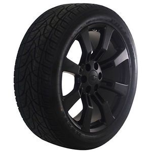 "Chevy Silverado Tahoe Avalanche 22"" Inch black Wheels Rims and Tires Package"