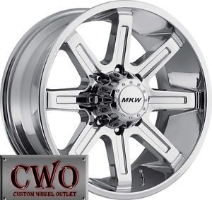 20 Chrome MKW M88 Wheels Rims 8x165 1 8 Lug Chevy GMC 2500 HD Dodge RAM 2500